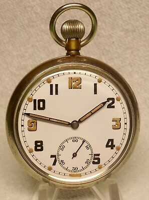 WW2 British G.S.T.P Record Cal 433 Swiss Made 15 Jewel Pocket Watch Serviced VGC • 95£