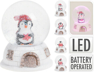 Cute Penguin Christmas Snow Globe Christmas LED Light Up Snowglobe On Igloo • 9.29£