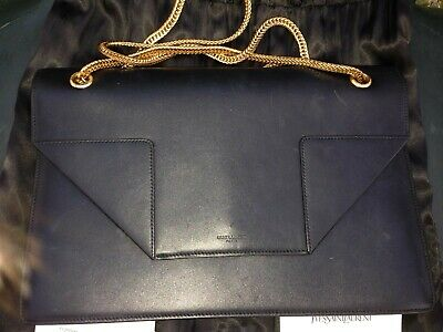 AU990 • Buy Authentic YSL SAINT LAURENT Betty Black Leather Chain Shoulder Bag