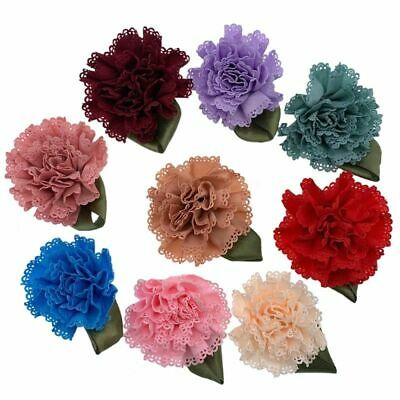 Satin Carnation Flower Appliques For Sewing Wedding Packing Leaf Ruffle Art 5Pcs • 4.11£