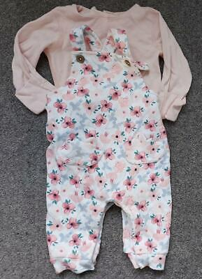 Baby Girls  2 Piece Dungarees Outfit   0-3 Months • 2.99£