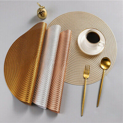 AU11.50 • Buy PVC Round Woven Placemats Dining Table Mats Non-Slip Washable Kitchen Decoration