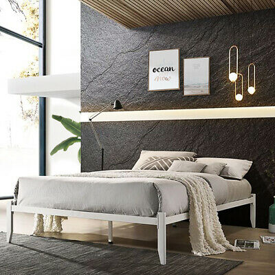 Modern Low Platform Style White Metal Bed Frame Loft Bed Single Double King Size • 76.99£