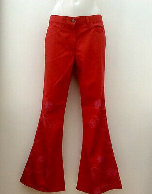 *Indian Rose* Intalian Made Ladies Red Poly- Embroidered Trousers Jeans IT 33 • 12.99£