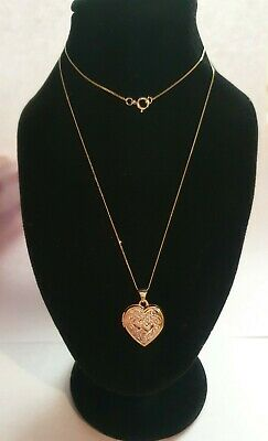 Beautiful 9ct Yellow Gold Silver Heart Shaped Locket - 18  Curb - New & Boxed  • 59£