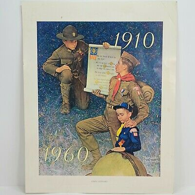 $ CDN18.17 • Buy Vintage 1960 Lithograph Poster Norman Rockwell BSA Boy Scout Print | Ever Onward