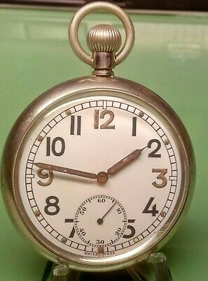 WW2 FLEURIEA 40H BRITISH MILITARY GSTP POCKET WATCH 15 Jewels FULLY  SERVICED  • 86£