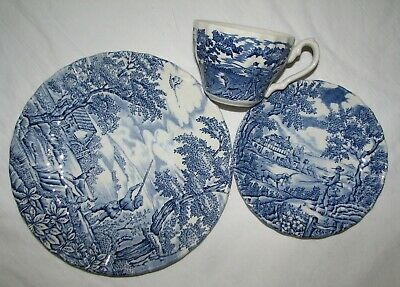 £12.74 • Buy Transferware Myott The Hunter Blue Cup Saucer Plate Place Setting England