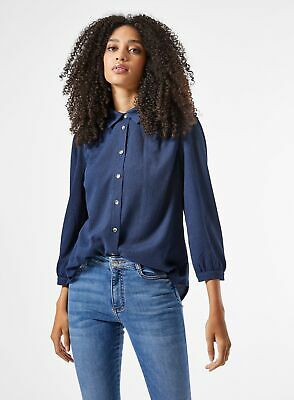 Dorothy Perkins Womens Navy Fauchette Button Up Collared Shirt Top Blouse • 19.99£
