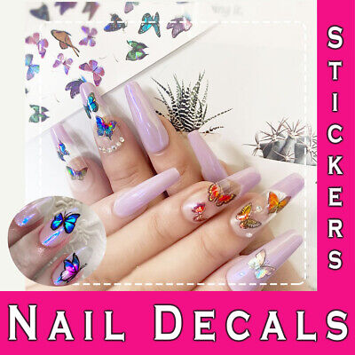 Nail Stickers | Laser 3D Holographic Butterfly | Adhesive Manicure Art Decals • 2.49£