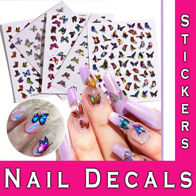 Nail Stickers 3D Laser Holographic Butterfly Adhesive Diy Manicure Art Decals • 2.49£