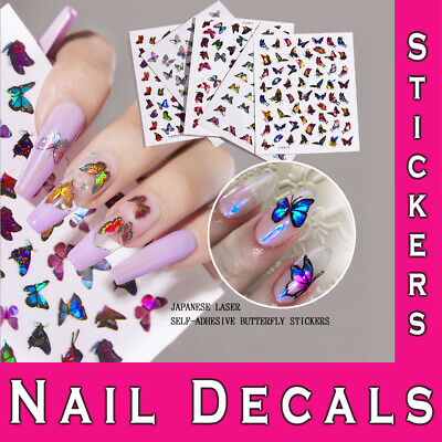 3D Laser Holographic Nail Stickers Butterfly Diy Manicure Adhesive Art Decals • 2.49£