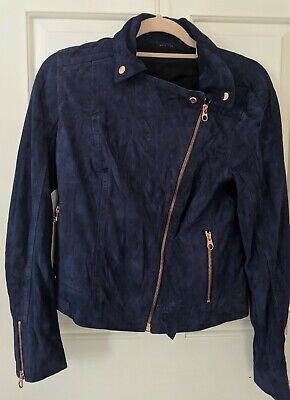 £120 • Buy Ted Baker Navy Leather Jacket With Rose Gold Zip Detail - UK Size 8/10