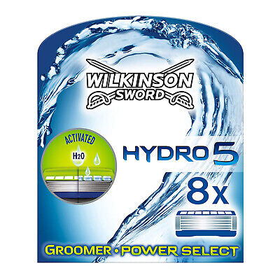 Wilkinson Sword Hydro 5 Groomer And Power Select 8 Pack Mens Razor Blades • 13.99£