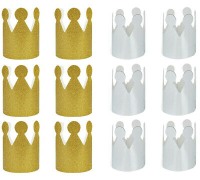 6 Mini Crowns Christmas Xmas New Year's Party Hats Celebration Gold Glitter • 2.99£