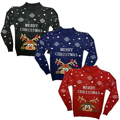 Boys Girls Kids Christmas Jumper Xmas Sweater Unisex Gift Rudolph Red • 6.99£