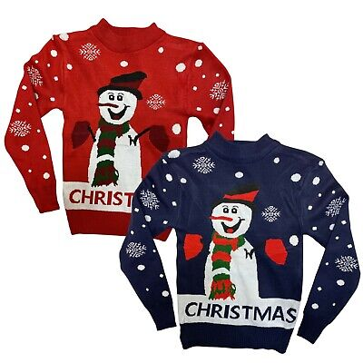 Boys Girls Kids Christmas Jumper Xmas Sweater Unisex Gift Rudolph Red Pull Over • 6.99£