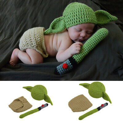 Star Wars Baby Yoda Mandalorian Handmade Knitted Outfit Cosplay Costume Full Set • 12.29£
