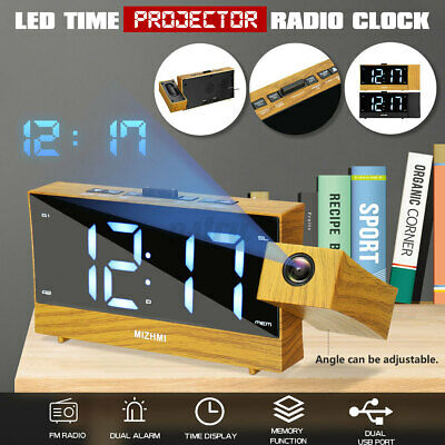 AU32.22 • Buy 1.8in Projection FM Radio Alarm Clock LED Digital Projector Table Time Display