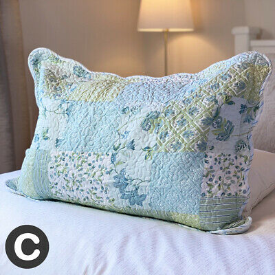 Large Rectangle Cushion Cover Pillowcase Soft Duck Egg Blue Green Floral • 8.95£