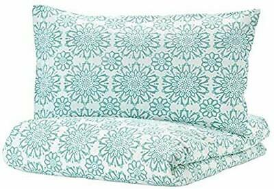 Ikea Angssalvia Single Quilt/Duvet Cover & Pillowcases Turquoise/White 150x200cm • 16£
