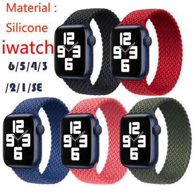 $ CDN6.30 • Buy Watch Band Silicone Braided Solo Loop Strap For Apple IWatch 1/2/3/4/5/6/Series