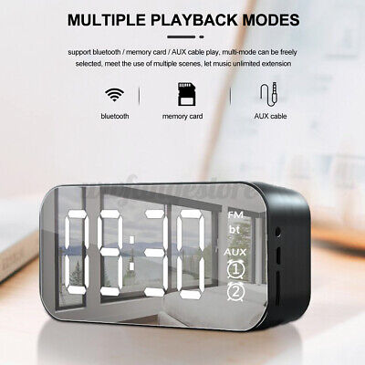 AU20.39 • Buy 7 In1 LED Mirror Digital Alarm Clock Wireless Bluetooth Speakers MP3 FM Radio