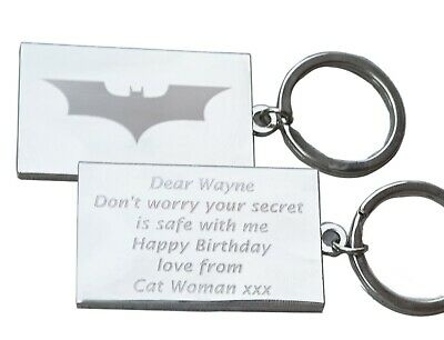 Personalised BATMAN Keyring In Gift Tin With Your Custom Text On Reverse • 5.50£