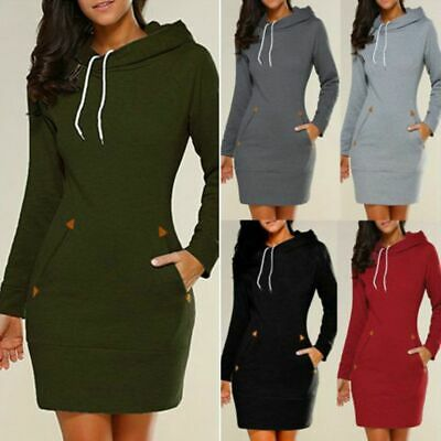 $ CDN18.68 • Buy Women Casual Dress Long Sleeve Hoodie Hooded Jumper Pullover Sweater Tops Autumn