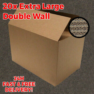 NEW 20 X LARGE DOUBLE WALL Cardboard Moving Boxes - Removal Packing Storage Box • 21.94£