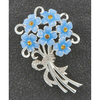 Forget Me Not Brooch Silver Plated By Equilibrium • 12.95£