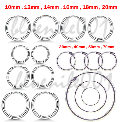 925 STERLING SILVER HOOP SLEEPER EARRINGS 8- 50mm SMALL LARGE NOSE SET BALL RING • 4.69£