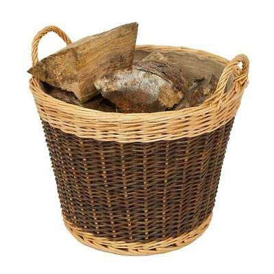 £16.99 • Buy Round Wicker Basket Handle Laundry Willow Woven Storage Log Kindling Vintage