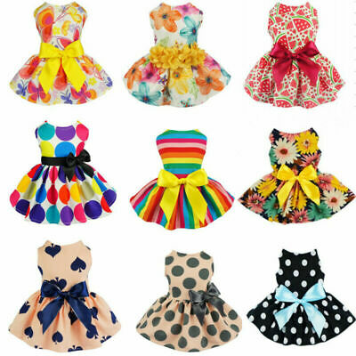 Pet Small Dog Dress Printed Flower Bowknot Puppy Cat Princess Dresses Clothes • 7.50£