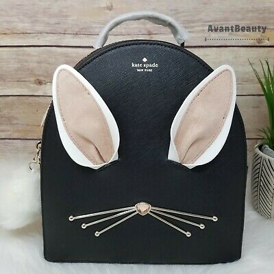 $ CDN200.50 • Buy NWT Kate Spade Bunny Rabbit Sammi Hop To It Backpack Bag Purse Black Leather Bag