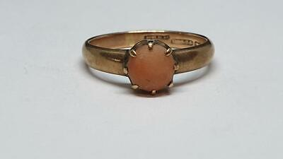 £145 • Buy Vintage 9ct Rose Gold Solitaire Ring With Single Coral Stone Size Q, 3.15g