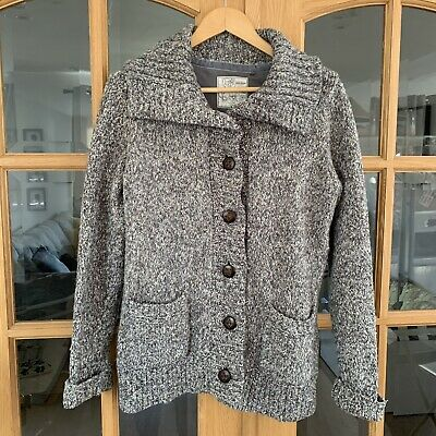 FAT FACE Chunky Knit Cardigan Grey With Brown Leather Look Buttons Cosy Jumper • 14.99£