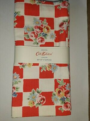 CATH KIDSTON - SET OF 4 NAPKINS - DAISY ROSE CHECK RED - COTTON - 45 X 45 CMS  • 16.99£