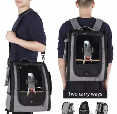 Parrot Backpack Carrier Bird Travel Bag, With Perch And Food Bowl, RRP £89.99 • 49.99£