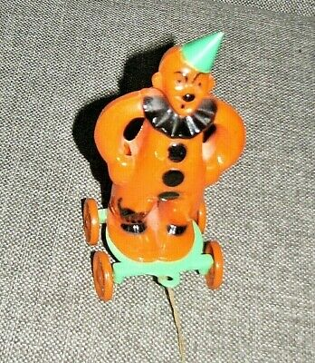 $ CDN128.05 • Buy Vintage Halloween Hard Plastic Clown On Wheels Pull Toy ROSBRO Candy Container