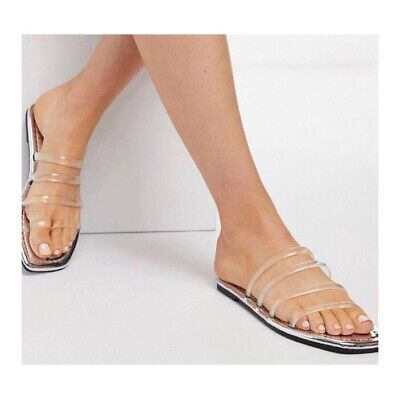 ASOS Clear Slider Sandals With Metalic Soles  • 9£