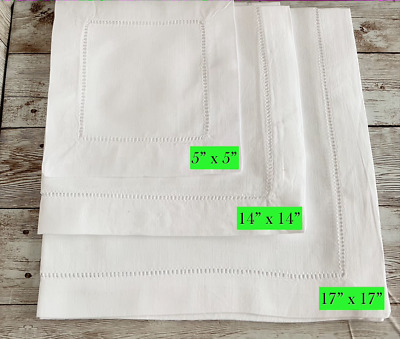 Cotton Hemstitched Napkins - Dining / Tea / Cocktail Napkin Table Linen • 13£