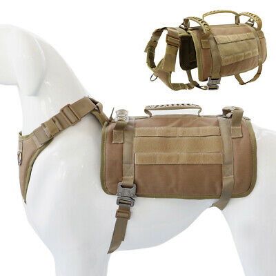 AU38.99 • Buy No Pull Tactical K9 Training Dog Harness Nylon Military Molle Vest Large Brown