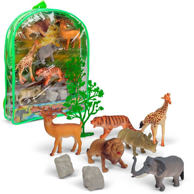 Realistic Wild Animal Toys Figures Playset  & Trees Educational Set In Backpack  • 7.99£