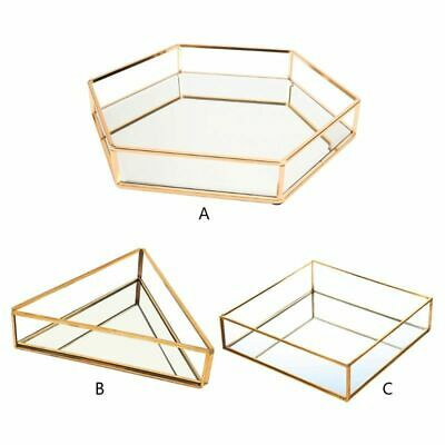 £19.25 • Buy Gold Mirrored Glass Tray Candle Holder Perfume Jewellery Makeup Storage Stand