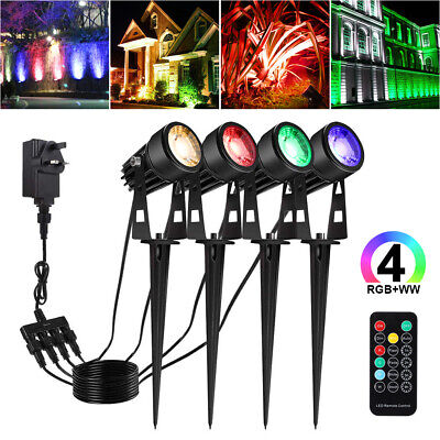 4 IN 1 RGB LED 12V Outdoor Garden Spot Lights Waterproof Yard Ground Spike Light • 4.99£