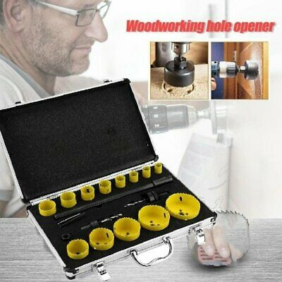 £29.79 • Buy 17Pc HOLE SAW CUTTER SET Round/Circular Drill Cutting Case Kit Metal Alloy Wood