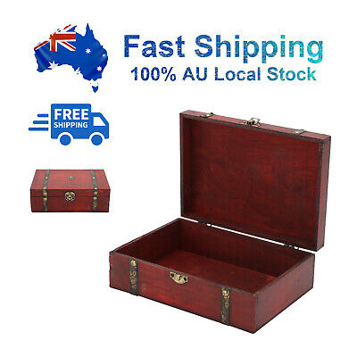 AU9.49 • Buy AU STOCK!Wooden Oversize Vintage Treasure Chest Wood Jewellery Storage Box Case