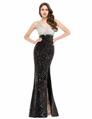 Grace Karin Black And White Sequin Side Split Evening Dress UK 12 LN006 BB 17 • 47.99£