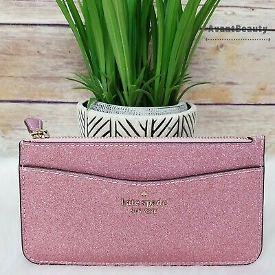 $ CDN84.20 • Buy NEW Kate Spade Large Slim Card Holder Rose Pink Glitter Wallet Organizer Holiday